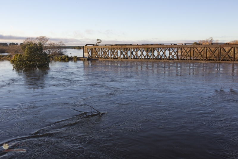 Longford railway bridge under water.