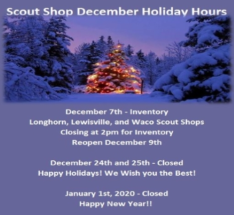 LHC Scout Shop Holiday Hours