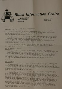 Letter to Press, H Block Committee