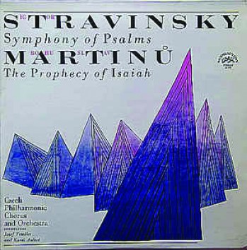 The album cover for Stravinksy's Martinu. The background is white and purple geometric shapes move towards the front of the album cover. All lettering is black tariffed.