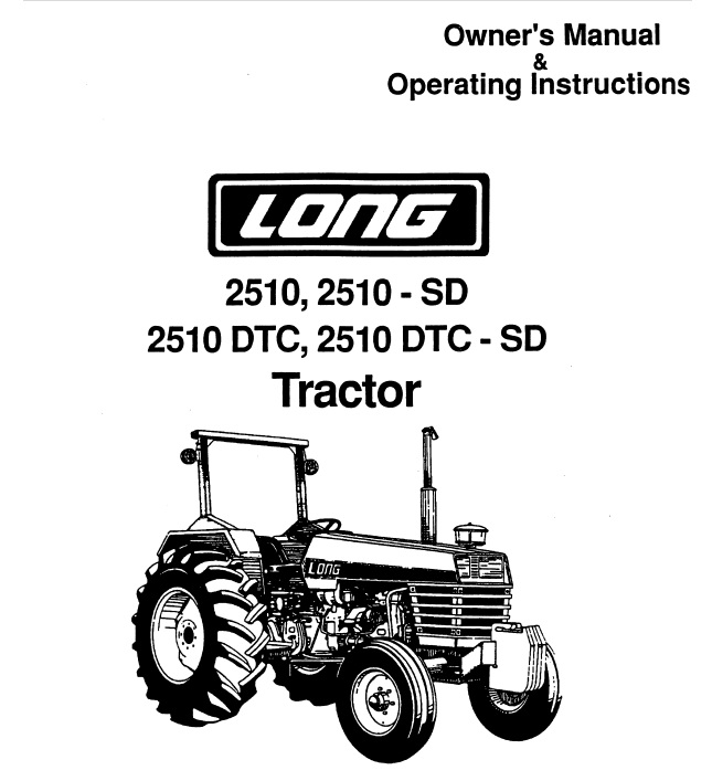Operator's Manual for Long 2510 Tractor (LONG-OP-2510