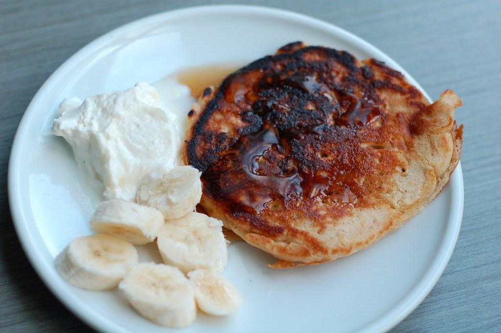 Sourdough oatmeal whole wheat pancake served