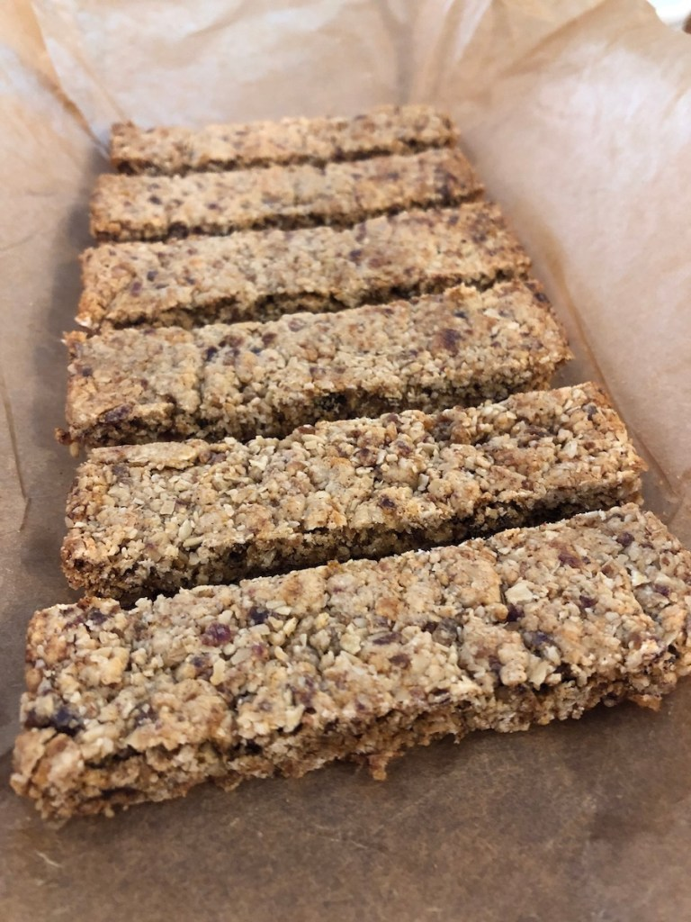 Close up baked cinnamon oatmeal cookie bars