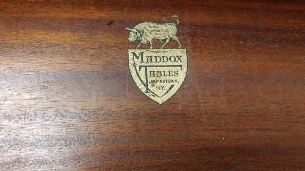 Antique Maddox Mahogany Library Table w Drawer  Solid
