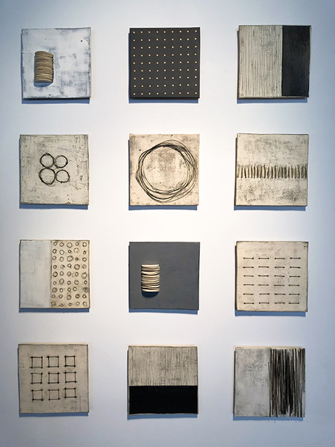"Large Squares, 13 x 13"" each, ceramic and mixed media"