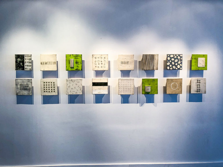 "Medium Squares, 10 x 10"" each, ceramic and mixed media"
