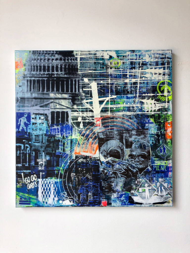"""FCV #13 "", 36 x 36"", layered acrylic screen prints and spray paint on canvas"