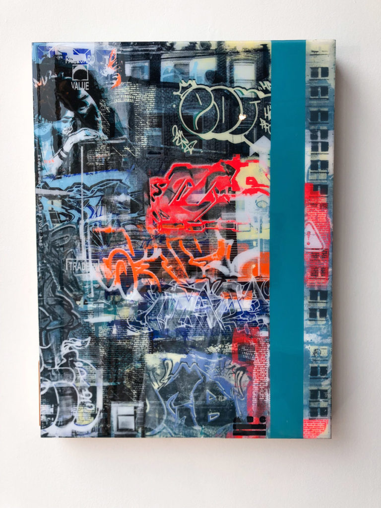 """FCV #18 "", 18 x 24"", layered acrylic screen prints and spray paint on wood panel with resin"