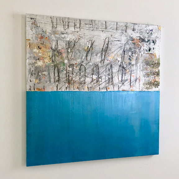 Silver and Color 3 (metallic blue), 36 x 36