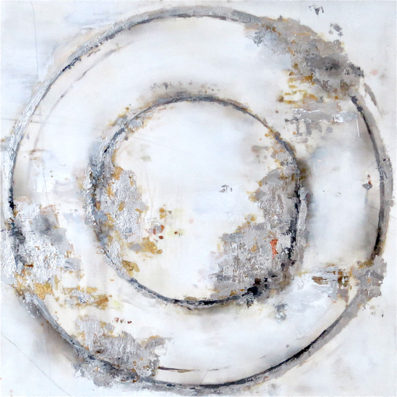 Circle 33 Silver, acrylic, metal leaf & gold on canvas