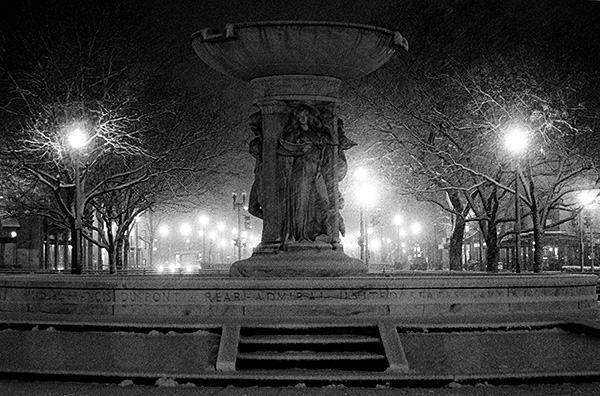 """Dupont Circle in Snow"""