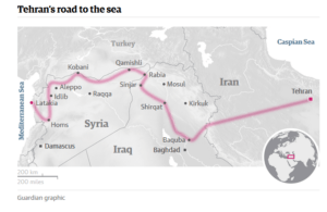 The hypothesized Iranian land corridor. Credit: The Guardian