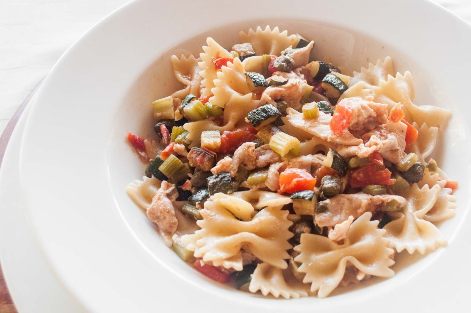 Pasta with Tuna Short pasta in a vegetables sauce (zucchini, celery, tomatoes) with capers and tuna carpaccio