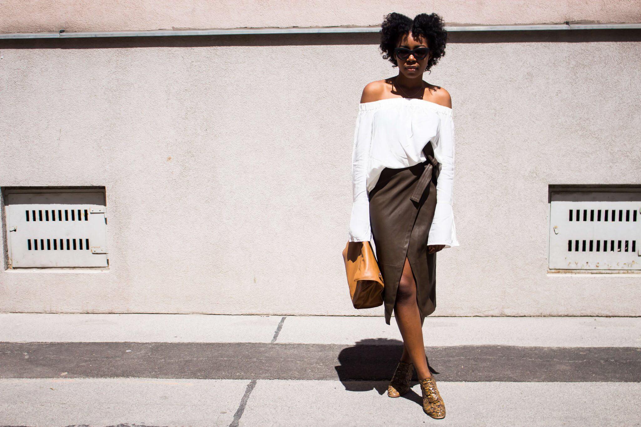 off shoulder blouse; wrap skirt; quay australia kitty; vintage boots;