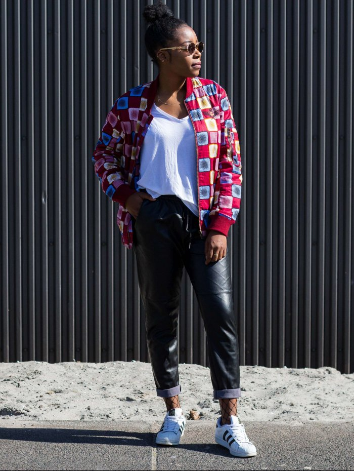 Bomber Jacket; African Print; Leather pants