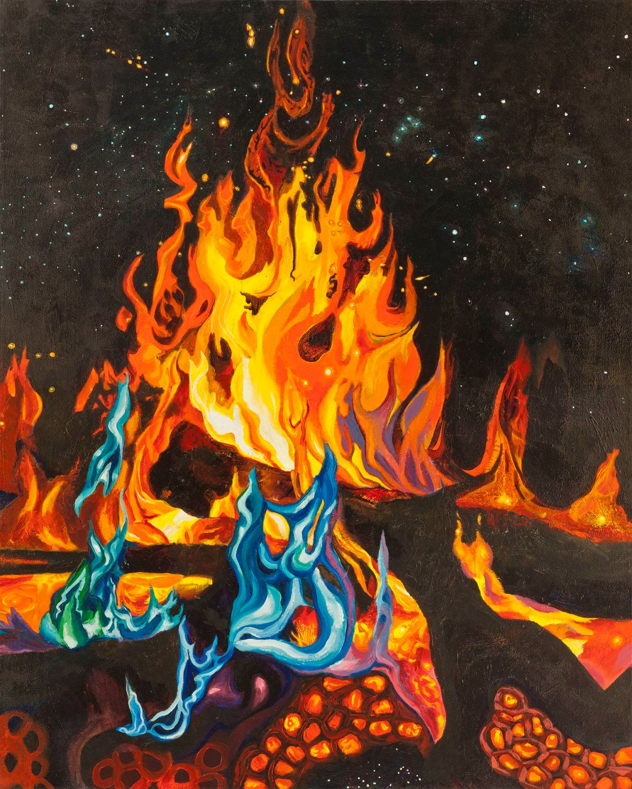 """Image of a painting by Steve Miller titled Campfire and Stars, 40"""" x 50"""", acrylic on canvas, completed 12/14/11, © Steve Miller 2011"""