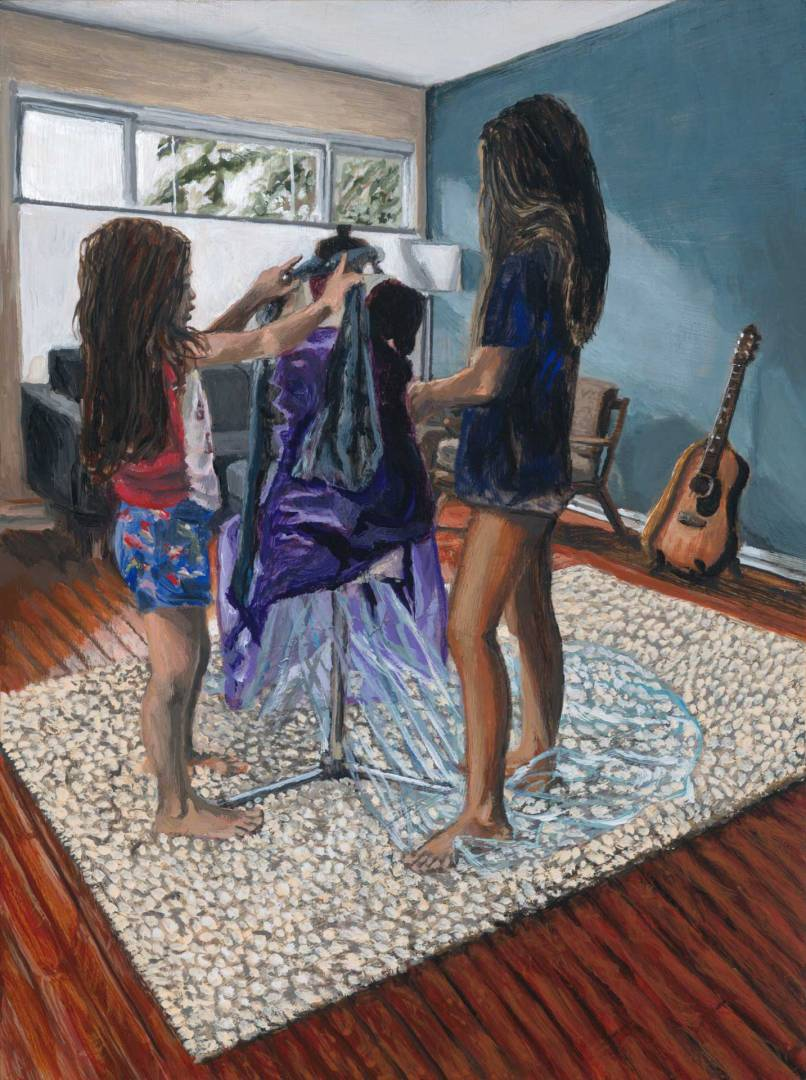 "Image of a Painting by Steve Miller titled, ""Dress Makers""."