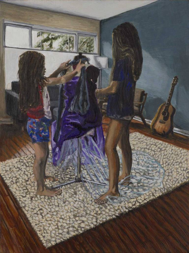 "Small acrylic painting by Steve Miller titled, ""Dress Makers"", completed October 2018."