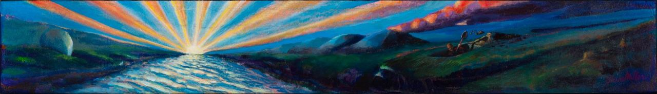 This is Painting of an imaginary landscape depicting a sunrise and person digging a hole in the dark.