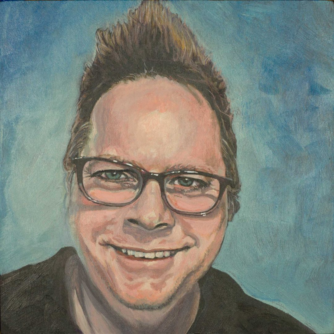 Self portrait, acrylic on wood panel, by Steve Miller.