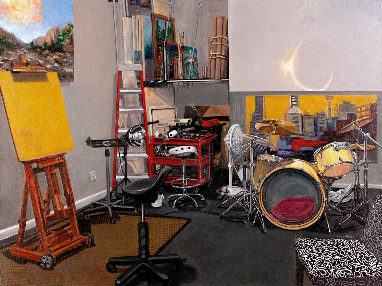"""Image of a painting by Steve Miller titled, """"Stasis Hiatus"""" which realistically depicts his art studio space."""