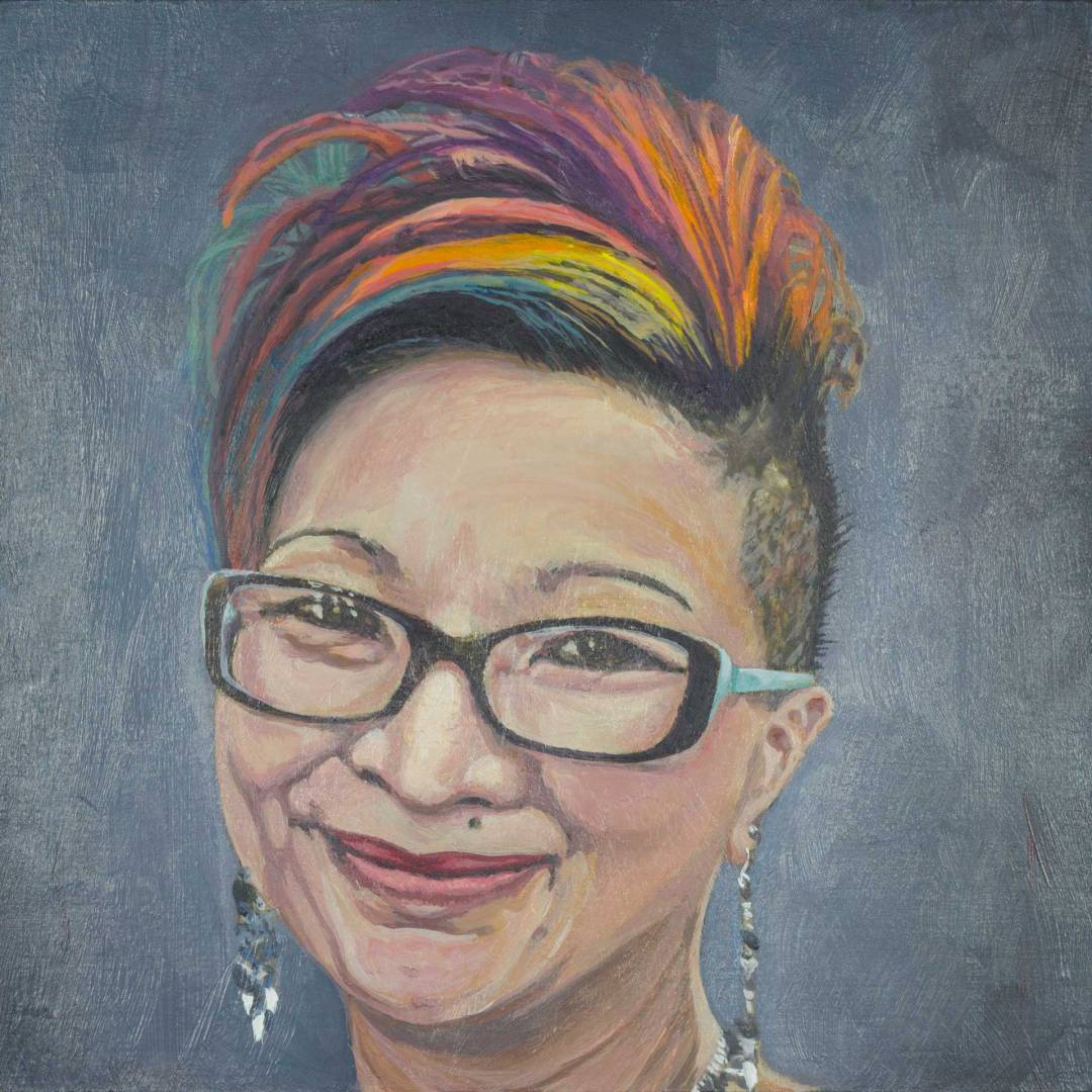 Acrylic portrait painting of Tiffany Moy-Miller by Steve Miller.