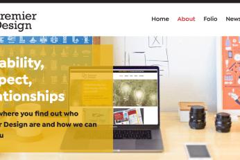 Premier design website about page screenshot
