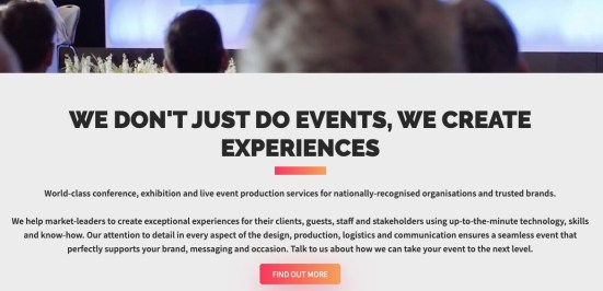 Event production company website