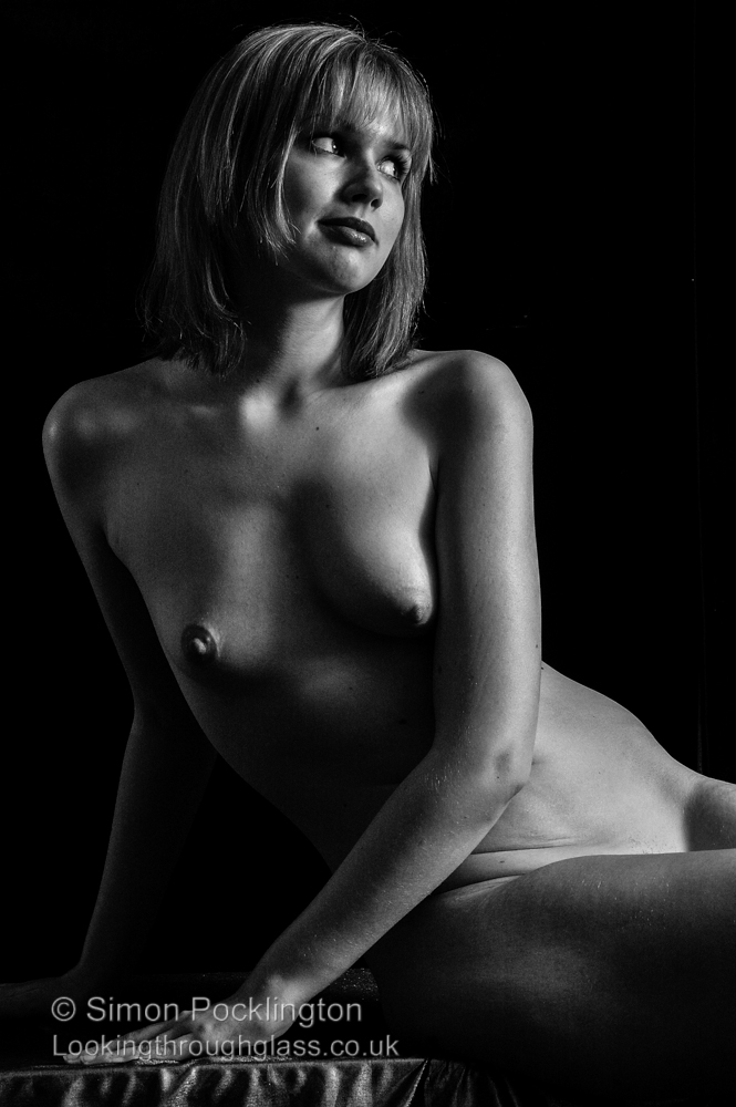 Black and white nude woman portrait