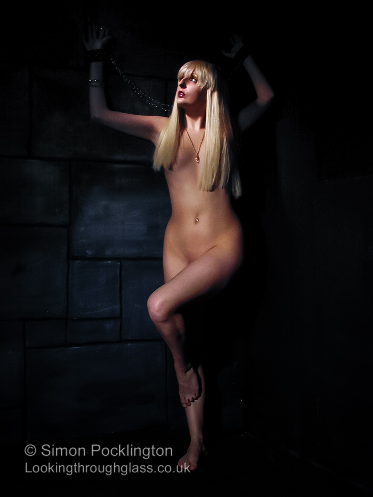Fetish nude model in bondage