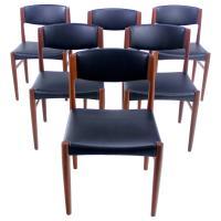 Set of Six Danish Modern Teak Dining Chairs by Glostrup ...