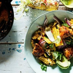 Recipe: Corn and Avocado Salad with Glazed Hot Chicken