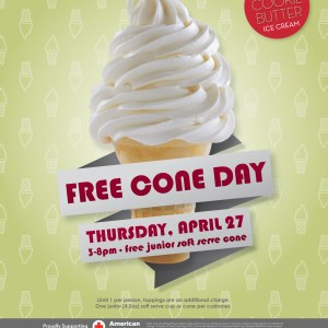 It's Free Cone Day at Carvel on April 27