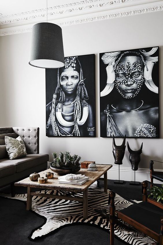 Faux zebra skin rug and beautiful African art in a living room