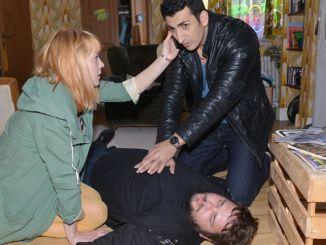 Nele (Ramona Dempsey) und Mesut (Mustafa Alin, r.) mit Tuner (Thomas Drechsel)