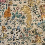 Classical Arts And Crafts Multi Colour Chenille Curtain And Upholstery Fabric Charles Voysey Alice In Wonderland Velvet Chenille From Loome Fabrics