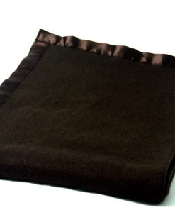 Msf  Wool Blankets Coffee Color With Ultra Satin On Borders
