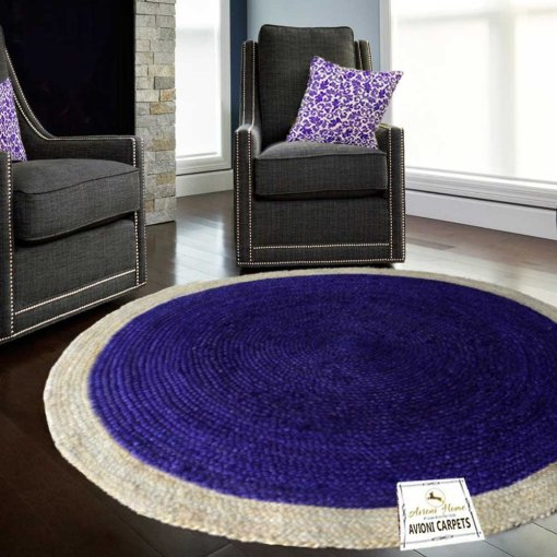 Jute Mat – Natural Rugs – Braided Jute – Blue With Border- Handmade & Unbleached – 4 feet Round – Avioni Premium Eco Collection