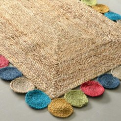 Jute Rug – Braided Rugs – Colorful Contemporary Design – Handmade – 4 feet X 6 feet -Avioni Premium Eco Collection – Best Seller