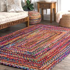 Rag Rugs – Modern Braided Rug in Colorful Cotton Chindi – Contemporary Colorful Design – Reversible – Avioni Premium Eco Collection – Best Seller