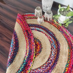 Braided Rug in Ecofriendly Recycled Cotton Chindi and Jute – Colorful Contemporary Design – 4 feet Round (122 cms Diameter)- Avioni Premium Eco Collection