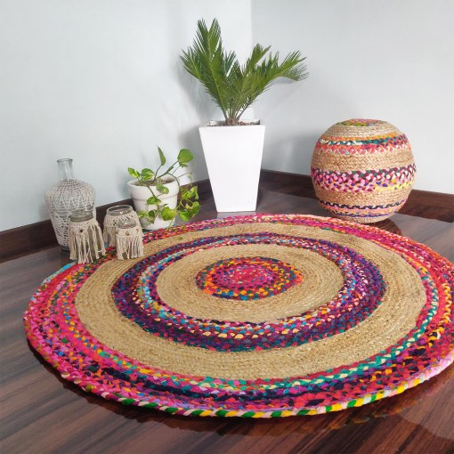 Braided Rug in Ecofriendly Recycled Cotton Chindi and Jute – Colorful Contemporary Design – 5 feet Round (152 cms Diameter)- Avioni Premium Eco Collection