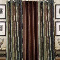 Coffee Polyester And Crush Curtain Material (set of 3) by Avioni