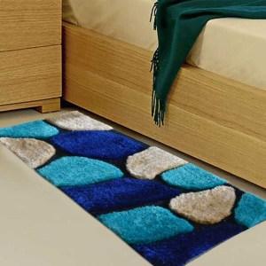 Handloom Shaggy Blue Stones Premium Bedside Carpet (22X55 Inch) By Avioni