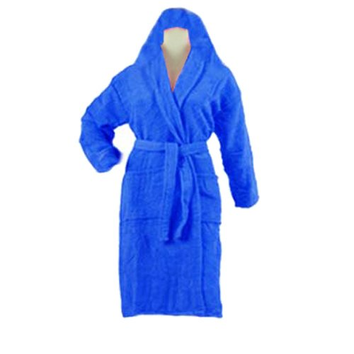 Export Quality 100% Cotton Unisex Bathrobes With Hood in Blue Color by Avioni