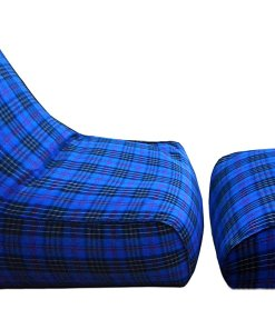 BIGMO Designer Bean Bags Comfy Stylish Chair XXXL With Matchig Foot Rest Without Beans 100% Cotton In Blue Check …