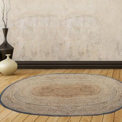 Jute Mat – Oval Design – Natural Rugs – Braided Area Rug With Grey Border – Handmade & Unbleached -94 X 138 cms – Avioni Premium Collection