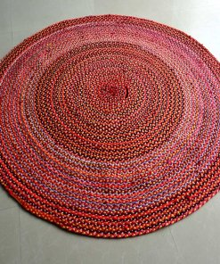 Rag Rug – Cotton Chindi Modern Area Rugs  – Braided – Handmade – Reversible – 5 feet Round – Avioni Premium Eco Collection – Best Seller