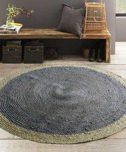 Jute Mat – Braided Rug In Grey – Handmade – 5 feet Diameter Round – Avioni Premium Eco Collection