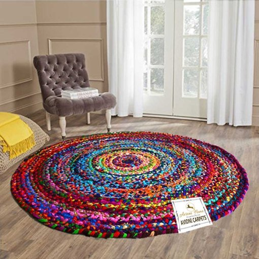 Rag Rug in Colorful Chindi – Braided – Contemporary Colorful Design – Reversible – 3.5 feet Round – Avioni Premium Eco Collection – Best Seller